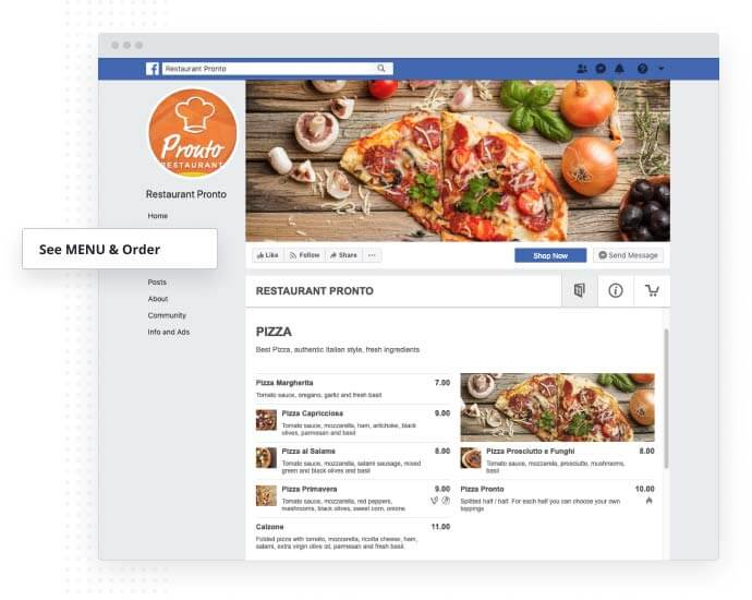 Facebook ordering system app from Tio Design in Hull