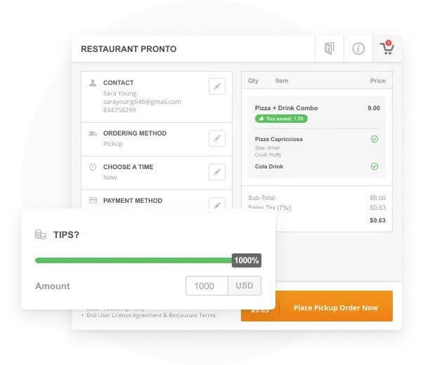 Tio Design restaurant accepting tips online